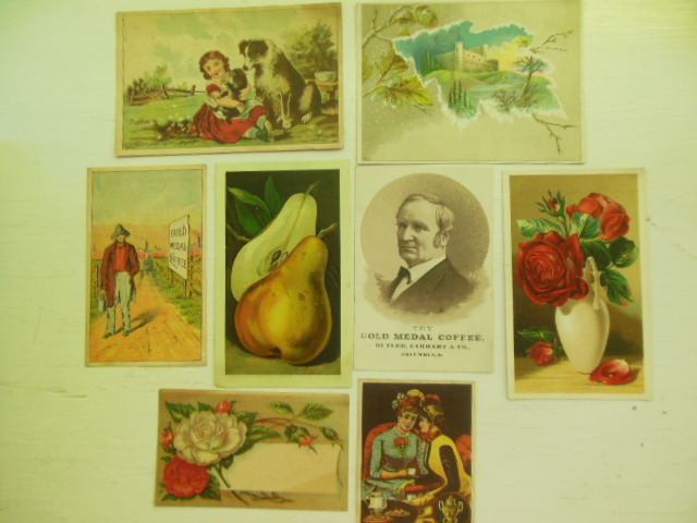 Eight Coffee Trade Cards (Lion, Arbuckle, Gold Medal, Dilworth's)