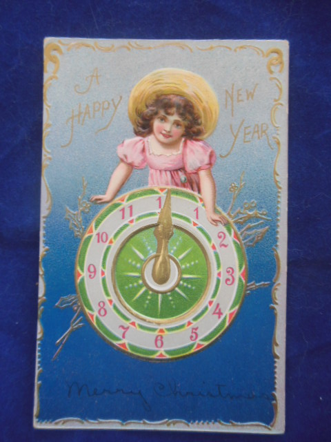 Image for A Happy New Year Girl with Clock Postcard 1906-08 Raphael Tucks & Sons