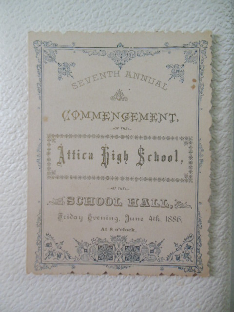 Attica High School Commencement Program 1886 (Attica, Ohio)