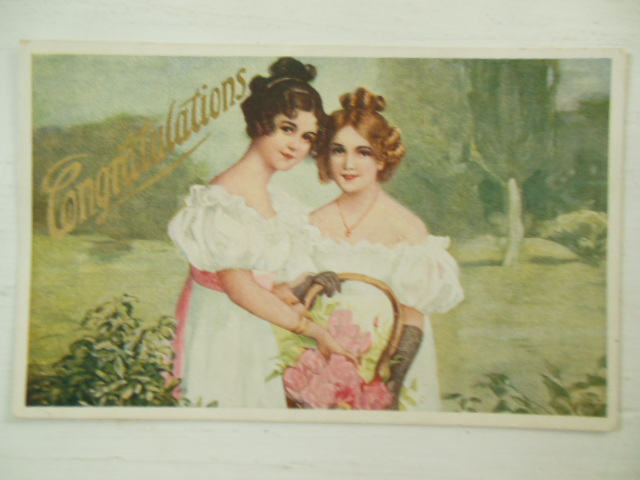 Congratulations Postcard Regency Girls with Flower Basket