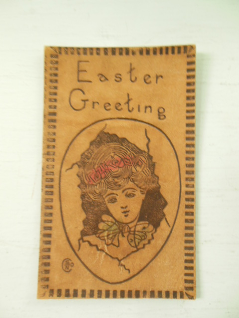 Image for Leather Postcard Easter Greeting