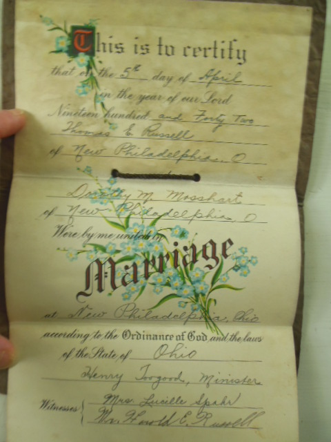 Image for Marriage Certificate New Philadelphia, Ohio Russell-Mosshart 1942