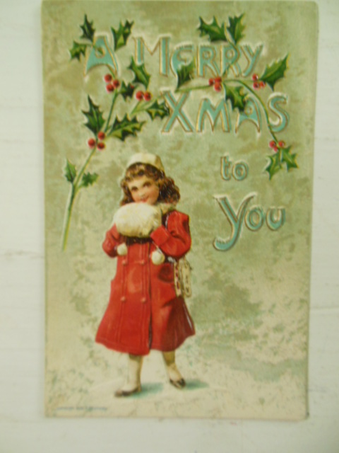 Embossed German Postcard Merry Xmas Holly Little Girl Red Coat & Muff