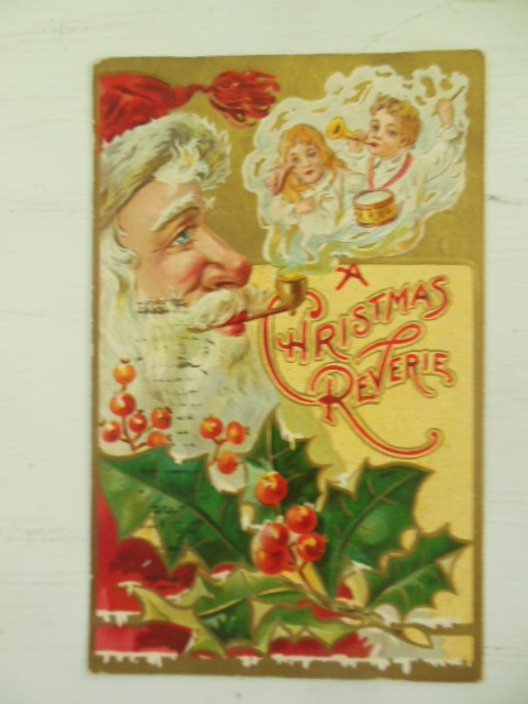 Image for Christmas Postcard A Christmas Reverie Santa with Pipe and Smoke 1908