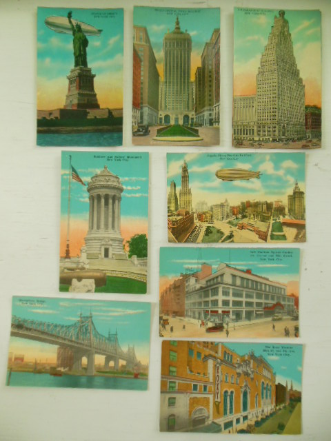 Postcards New York City Statue of Liberty, Zeppelin (nien cards)