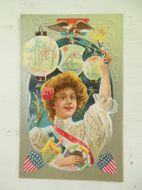 Image for Fourth of July Postcard Girl Holding Fireworks (Series No. 3)