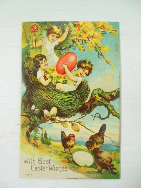 Image for With Best Easter Wishes Little Girls in a Nest Postcard 1910