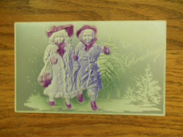 Image for Best Wishes For Christmas Children in Snow Silver and Purple Postcard 1910