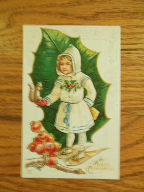 Image for Merry Christmas Girl on Snowshoes Squirrel, Holly Postcard 1914