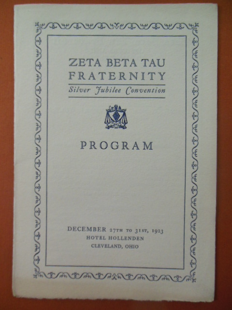 Image for Zeta Beta Tau Fraternity Silver Jubilee Convention Program 1923 Cleveland