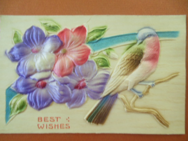 Image for German Best Wishes Postcard Bird and Flowers