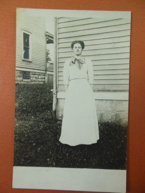 Image for Real Photo Postcard Young Woman in Backyard early 1900's