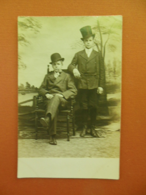 Image for Real Photo Postcard Two Young Men in Hats