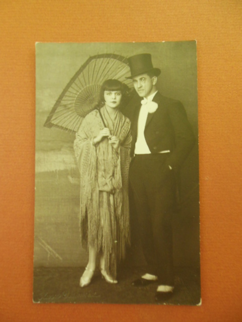 Image for Real Photo Postcard Dressed up Couple Flapper with parasol, Tuxedo