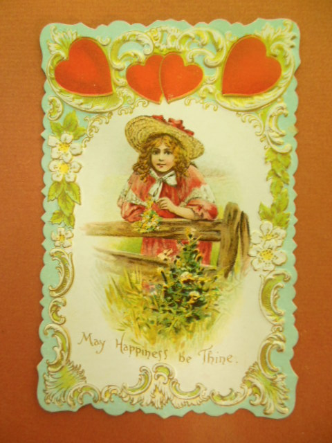 Image for Die-cut Valentine Postcard May Happiness Be Thine Hearts Girl Fence
