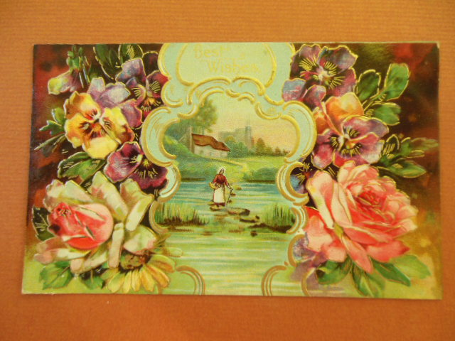 Image for Best Wishes Postcard Floral with Water Scene