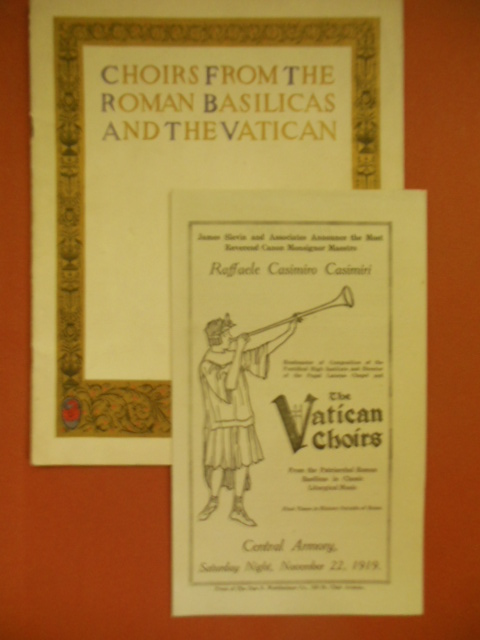 Image for Choirs From the Basilicas and the Vatican (Program Laid-in) 1919