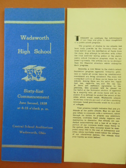 Image for Wadsworth, Ohio High School Commencement 1938