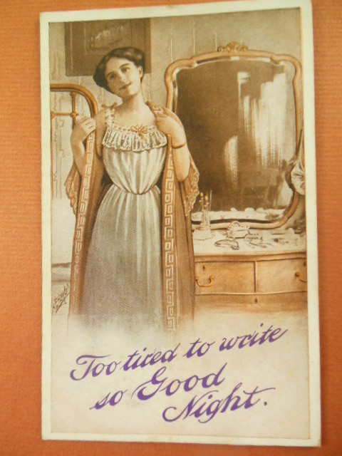 Image for Too Tired to Write So Good Night Postcard. Woman in Nightgown Dresser with Mirror