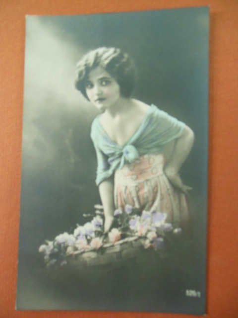 Image for Hand-tinted Postcard Young Girl with Flower Basket Numbered 529/1