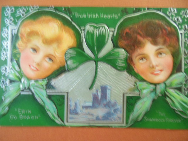 Image for True Irish Hearts, Erin Go Bragh, The Shamrock Forever St. Patrick's Day Postcard 1910