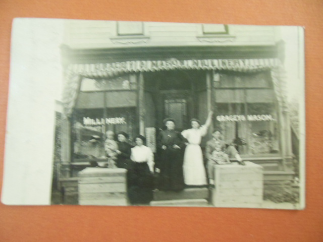Image for Gragey and Mason Millinery Real Photo Postcard Storefront Women & Children
