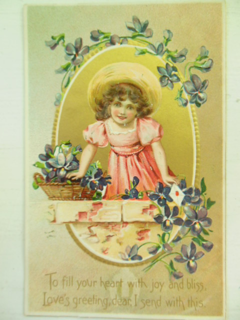 Image for To Fill your Heart With Joy and Bliss Postcard Little girl with Violets (Floral Missives -- Tuck)