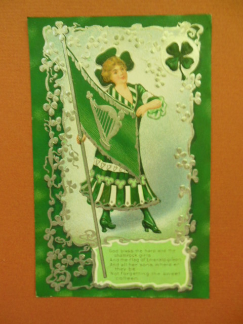 Image for God Bless the Harp and the  Shamrock, Girls St. Patrick's Day postcard