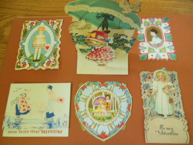 Image for Six Blue Vintage Valentines, One is a Stand-up
