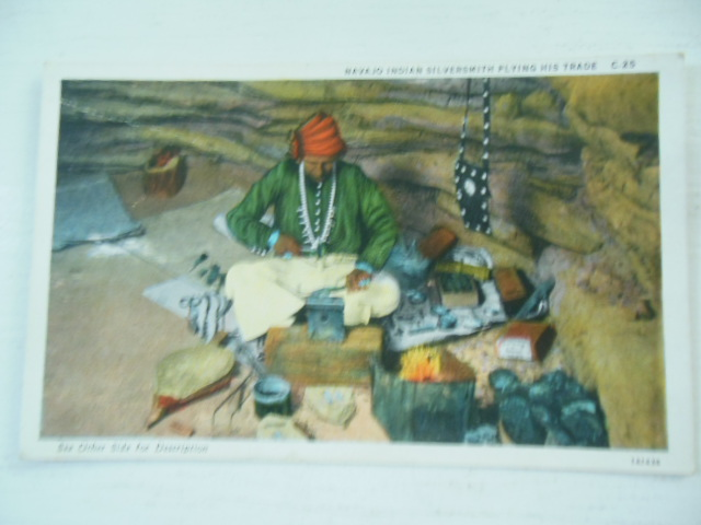Image for Navajo Indian Silversmith Plying His Trade Color Postcard