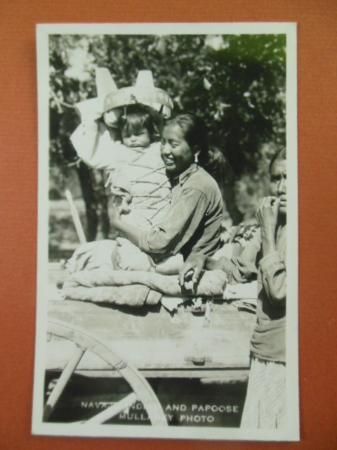 Image for Navajo Mother and Papoose Real Photo Postcard
