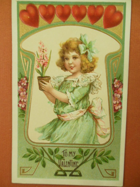 Image for To My Valentine Postcard Row of Hearts, Girl Holding Flowerpot