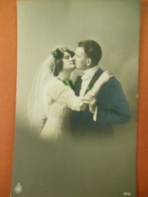 Image for Real Photo Wedding Postcard German Hand-Tinted