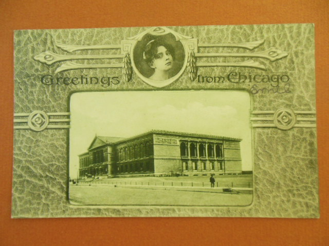 Image for Greetings From Chicago, Chicago Art Institute Black and White Postcard
