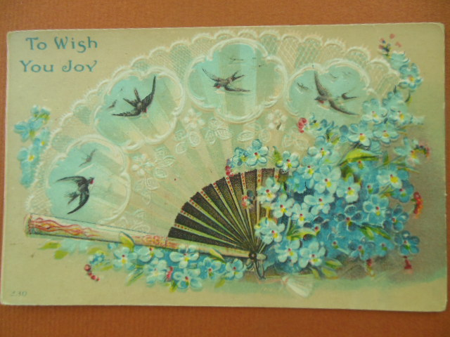 Image for To Wish You Joy Blue Fan and Flowers Vintage Postcard 1913