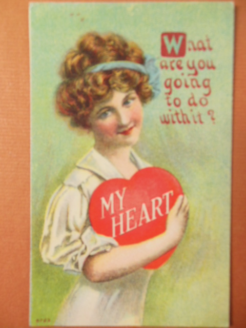 Image for My Heart What Are You Going to Do With It? Vintage Valentine Postcard