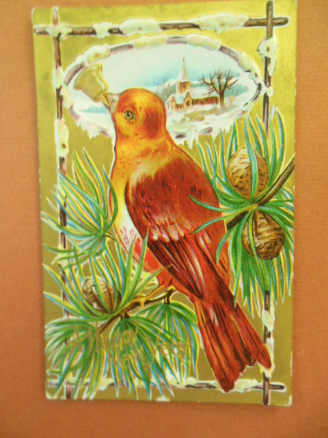 Image for A Happy New Year Bird Series Postcard Large Red Bird in Pine Boughs 1910