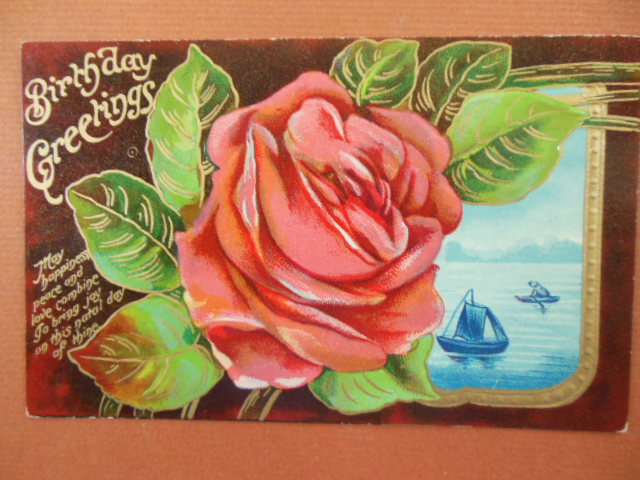 Image for Birthday Greetings Large Rose on Brown Background. Inset Sailboat Vintage Postcard