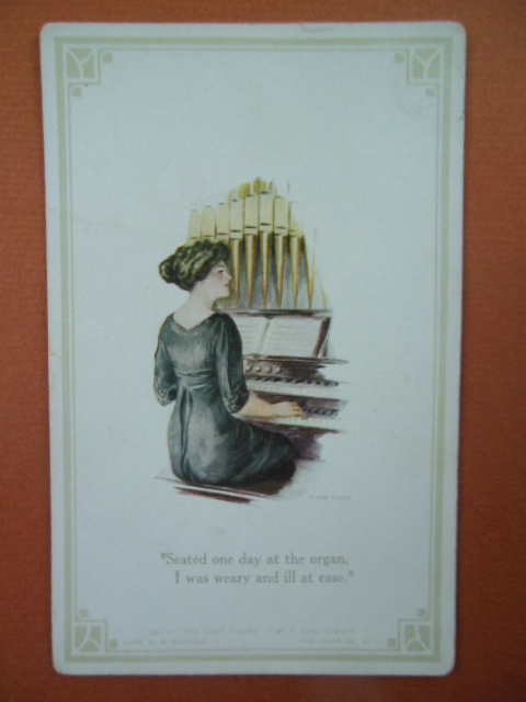 "Image for ""Seated at the organ I was weary and ill at ease"" The Lost Chord Vintage Postcard"