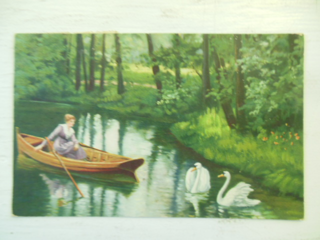 Image for Woman in Canoe Watching Swans Vintage Postcard