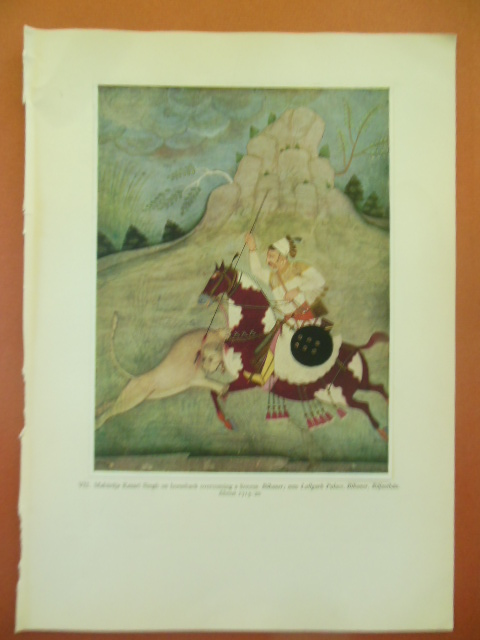 Image for Indian Print Maharaja Kesari Singh on Horseback Overcoming a Lioness