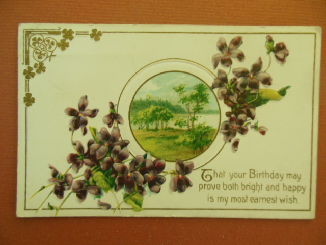 Image for That Your Birthday Might Prove Bright and Happy Violets and Lake Vintage Postcard