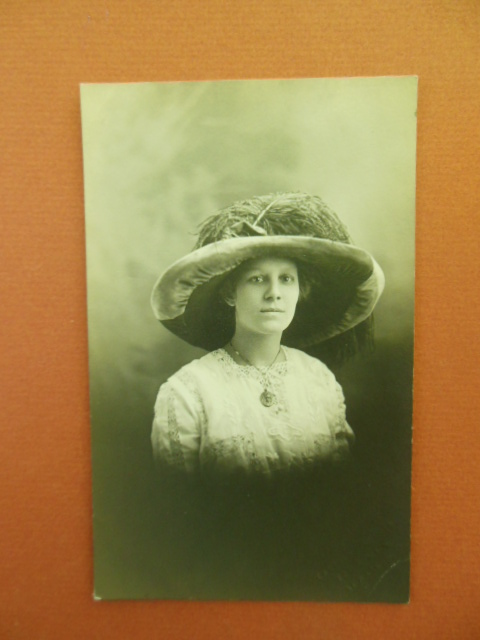Image for Real Photo Postcard Woman Big Hat and Locket, Newark, Ohio
