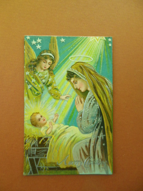 Image for A Merry Christmas Angel Mary Baby Jesus Vintage Postcard Metallic Silver