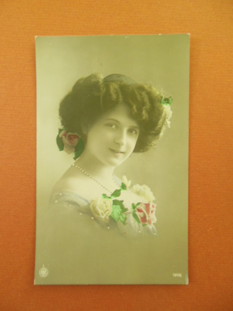 Image for Tinted Postcard Woman With Roses in Her Hair 1913