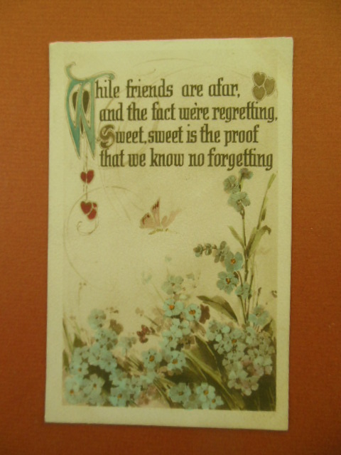 Image for While Friends Are Afar Postcard Flowers and Butterfly
