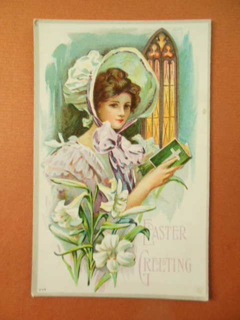 Image for Easter Greeting Bonnet Girl in Church Lilies