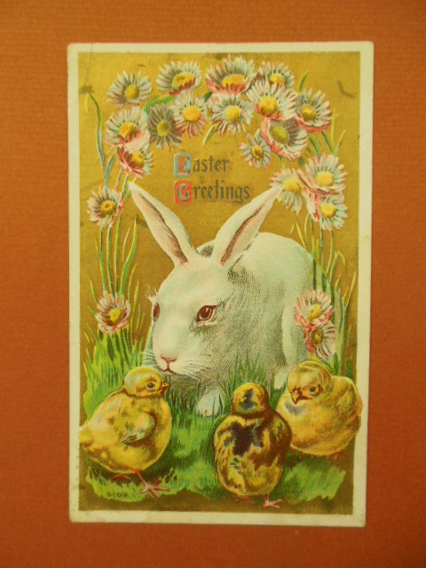 Image for Easter Greetings White Rabbit and Three Chicks Postcard