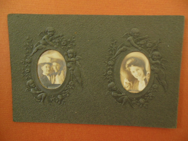 Image for Two Small Portraits Teenagers on Embossed Black Card (early 1900's)