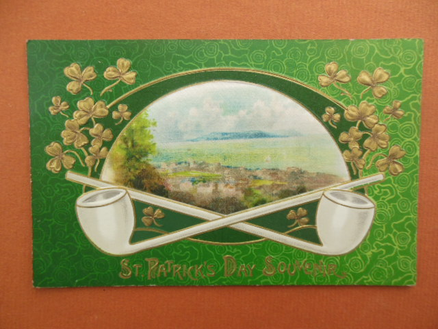 Image for St. Patrick's Day Souvenir Postcard Crossed Pipes
